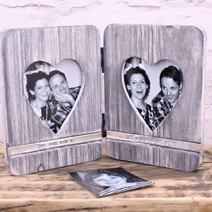 Personalised Wooden Heart Photo Frame - 5th anniversary: wood