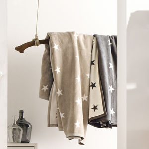 Beige And Cream Winter Stars Throw