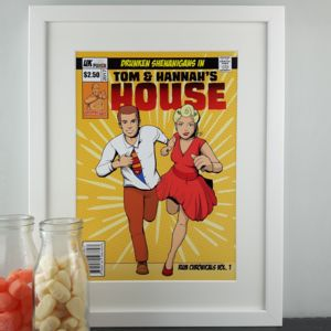 Personalised Couples Cover Comic Book Style Print