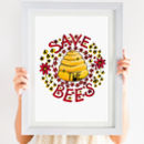 Bee Hand Illustrated Print 'Save The Bees'