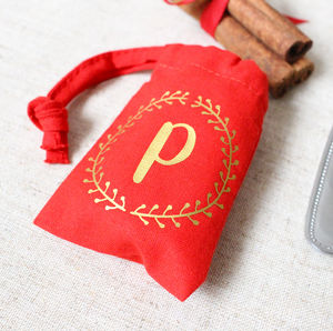 Wreath Initial Christmas Table Favour Bag
