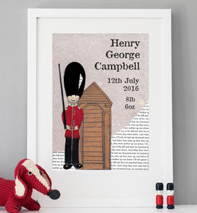 Personalised Birth Date Soldier Print - gifts for babies