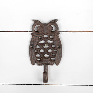 Handcast Cast Iron Owl Wall Hook - art & decorations