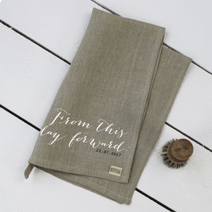 Wedding Vows Linen Tea Towel - kitchen accessories