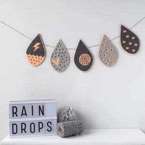 Raindrop Garland Choose Your Own Colours - gifts for babies