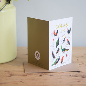 'Cocks' Illustrated Bird Pun Card