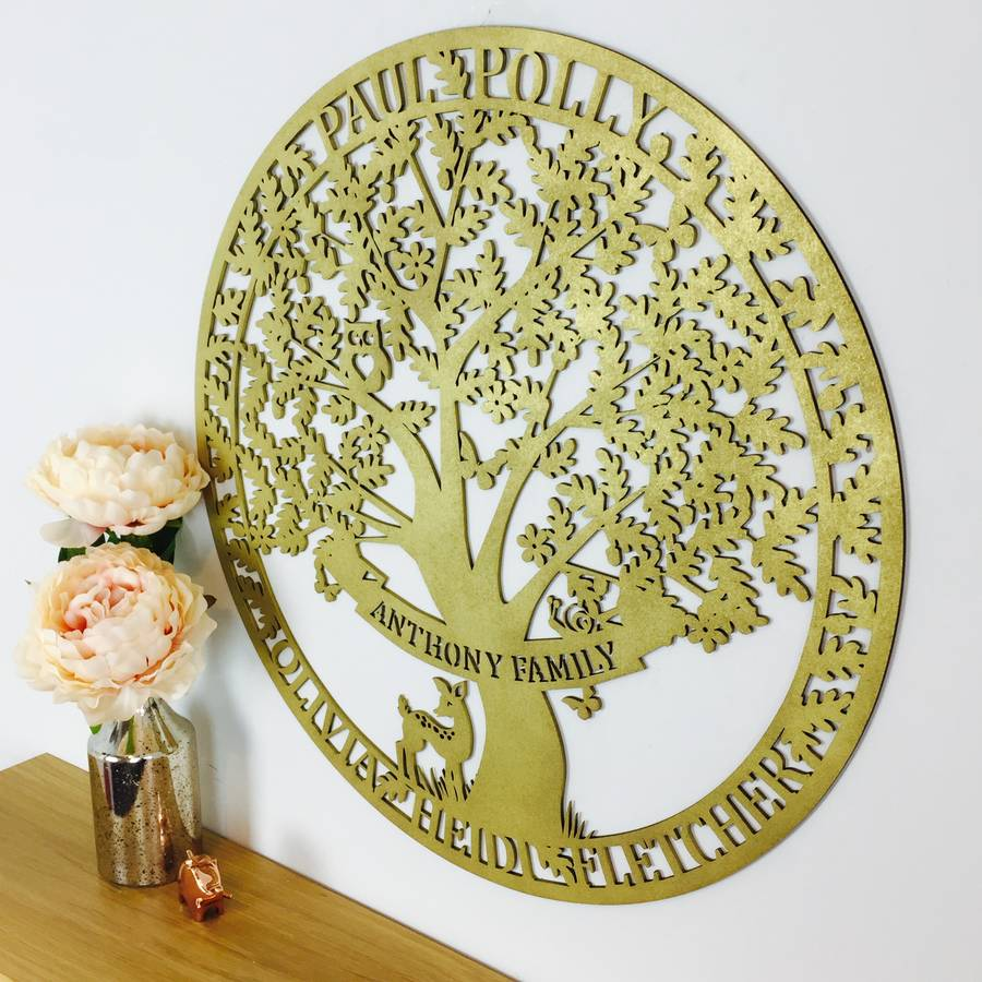 personalised family tree large wooden wall art by floppsie moppsie ...