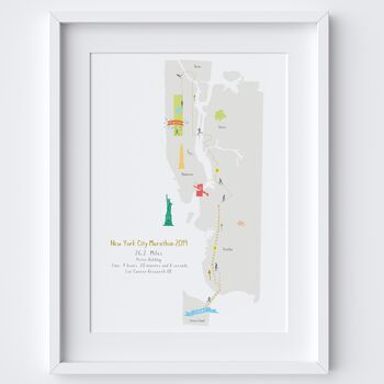 New York City Marathon Route Map Personalised Print