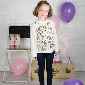 Unicorn Birthday Colour In Top With Fabric Pens - girl's t-shirts