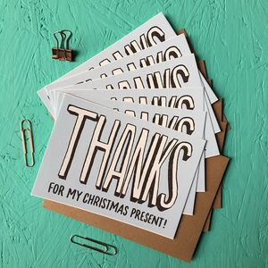 Pack Of Thanks For My Christmas Present Cards - thank you cards