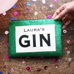 Personalised Gin Lovers Green Glitter Clutch Bag
