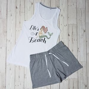 'Lifes A Beach ' Shorts And Vest Pj Set