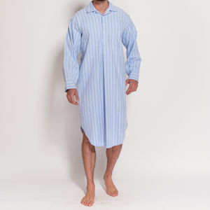 Men's Blue And White Striped Flannel Nightshirt - men's fashion