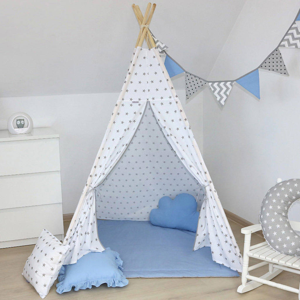online store 1605d cebdc Kids Teepee Tent White And Grey Stars