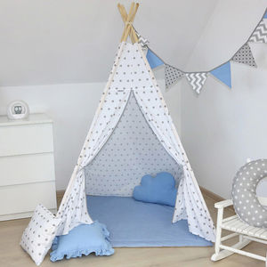 Kids Teepee Tent White And Grey Stars - premium toys & games