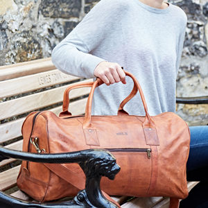 Personalised Leather Duffle Bag - luggage