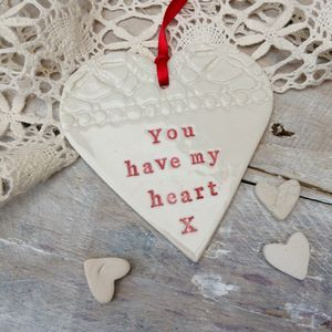 Personalised Porcelain Love Heart Decoration