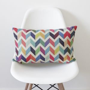 Geometric Chevron Bolster Cushion Cover - bedroom