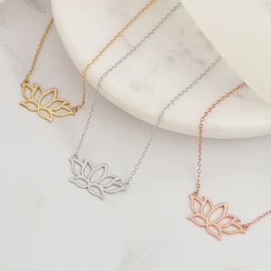 Sterling Silver Or Gold Lotus Flower Necklace