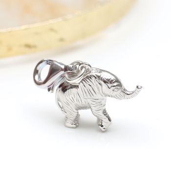 Sterling Silver Clip On Baby Elephant Charm