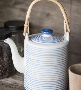 Blue And White Stoneware Tea Pot