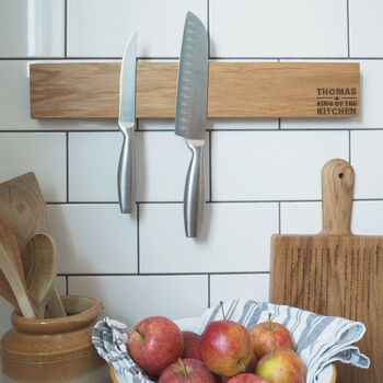 Personalised Wooden Magnetic Knife Block