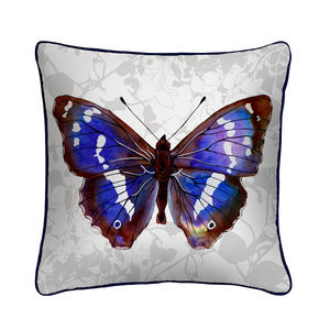 Purple Emperor Butterfly Silk Cushion