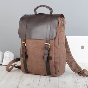 Waxed Canvas And Leather Backpack - frequent traveller