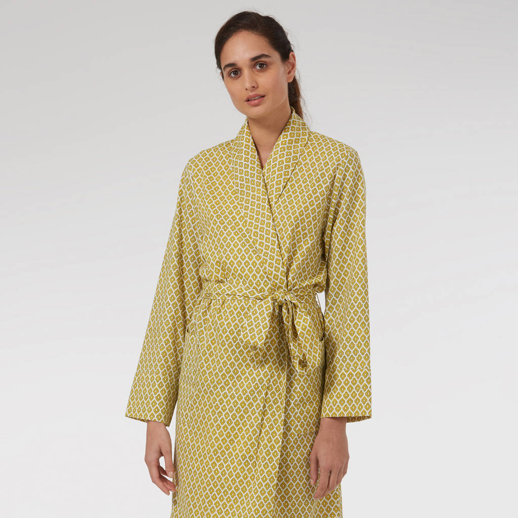 6a8cd8cc1b ladies cotton dressing gown in yellow print by caro london ...