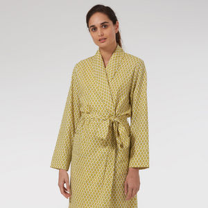 Ladies Cotton Dressing Gown In Yellow Print - lounge & activewear