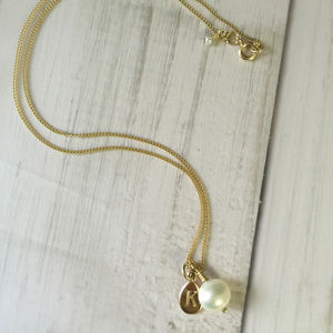 Alphabet Letter Charm With Pearl Necklace In Gold - necklaces & pendants