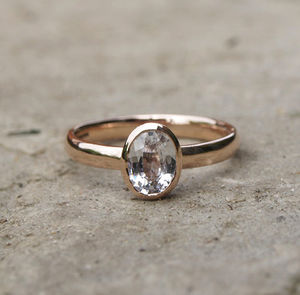 White Sapphire Rose Gold Ring - engagement rings