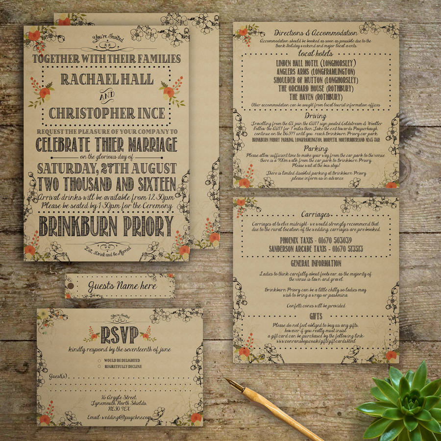 Vintage Wedding Invitations: Modern Vintage Wedding Invitation By Gray Starling Designs