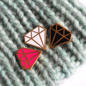 Diamond Enamel Pin Badge - new in jewellery