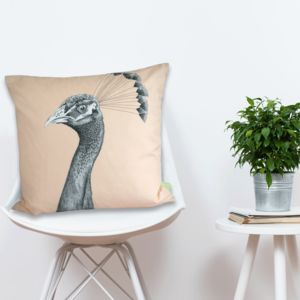 The Grandiose Peahen Cushion