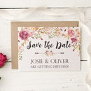 Peony Floral Garland Design Save The Date Cards