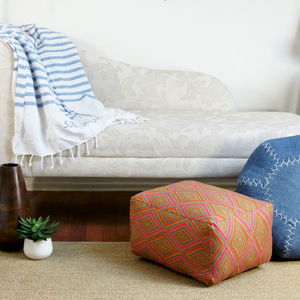 Small Rectangle Handmade Footstool Pouffe