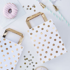 White And Gold Foiled Spotty Celebration Party Bags - party bags and ideas