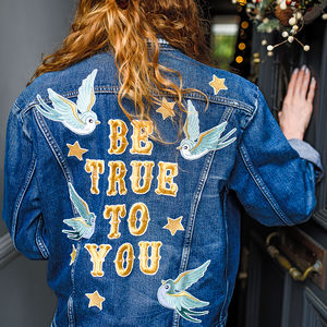 'Be True To You' Blue Bird Embroidered Denim Jacket - 16th birthday gifts