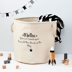 Child's Personalised Star Canvas Storage Bag - children's furniture