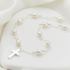 Child's Silver Cross On Pearl Necklace