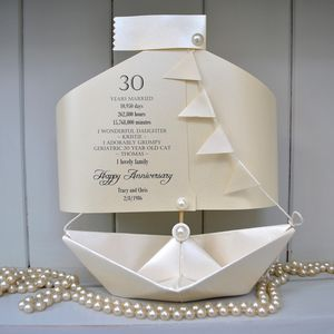 30th Pearl Wedding Anniversary Paper Boat Card - anniversary cards