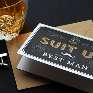 'Suit Up' Best Man / Usher / Give Me Away Card - be my bestman