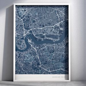 Personalised Contemporary Location Map Print - treasured locations & memories
