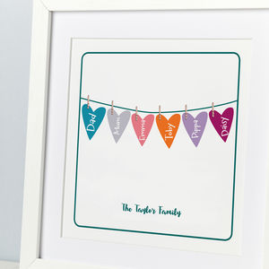Personalised Hearts Family Tree Line Print - sale by category