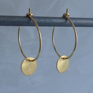Brushed Gold Disc Hoops