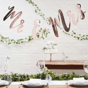 Rose Gold Script Font Mr And Mrs Wedding Bunting - outdoor decorations