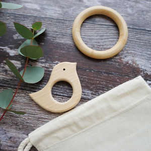 Wooden Baby Bird And Teether Set - baby care