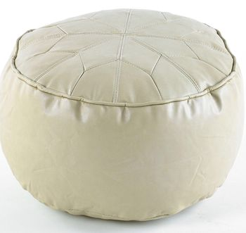 Moroccan Daisy Wheel Pouffe Easy Clean Faux Leather