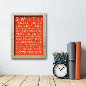 Personalised Family Rules Print - family & home